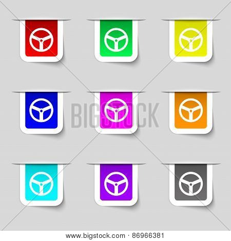 Steering Wheel Icon Sign. Set Of Multicolored Modern Labels For Your Design. Vector