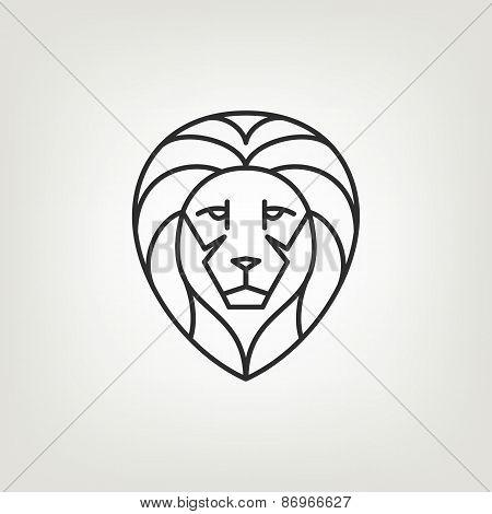 Lion head mono line logo icon design.