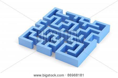 Blue Squared 3D Maze. Isolated. Contains Clipping Path
