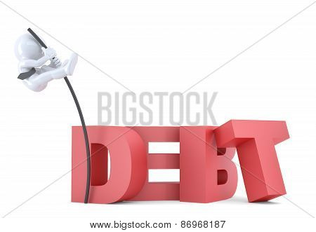 Business Men Jumping Over 'debt' Sign Using High Pole. Isolated. Contains Clipping Path