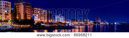 A Panoramic View Of Limassol Cityscape At Night. Cyprus
