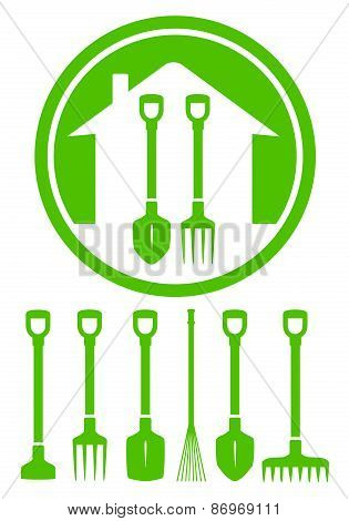 garden green icon with tools