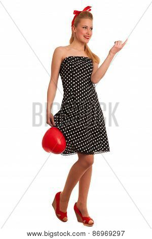 Retro Style Pin Up Girl With Blonde Hair In Black Dress Isolated Over White Background