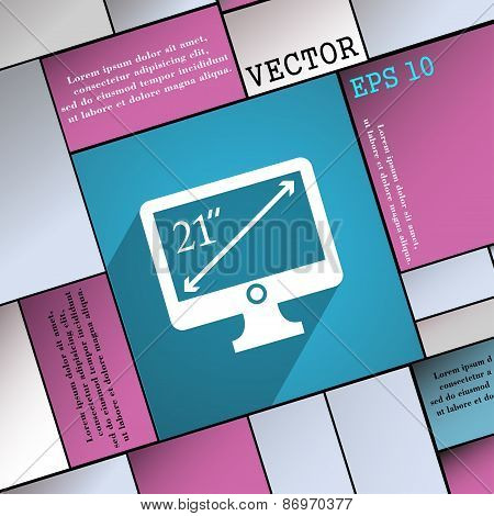 Diagonal Of The Monitor 21 Inches Icon Symbol Flat Modern Web Design With Long Shadow And Space For