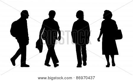 People Walking Outdoor Silhouettes Set 25