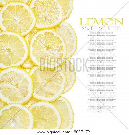 Background Of Heap Fresh Yellow Lemon Slices Isolated