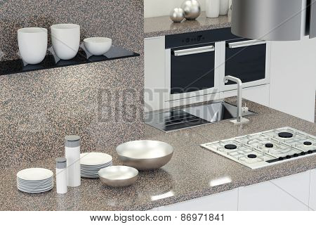 Interior design of new kitchen with marble counter (3D Rendering)