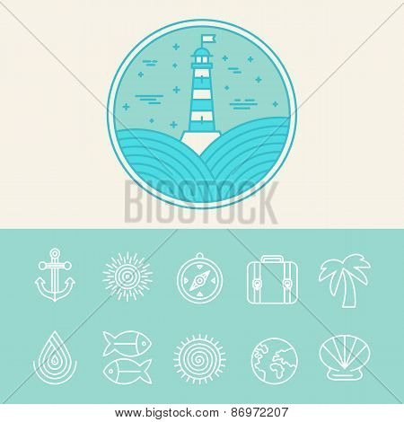 Vector Nautical And Travel Icons