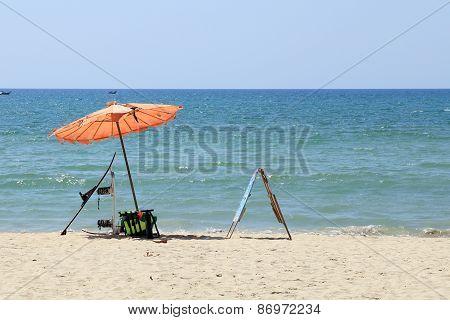 Beach With Umbrella At Patong Beach
