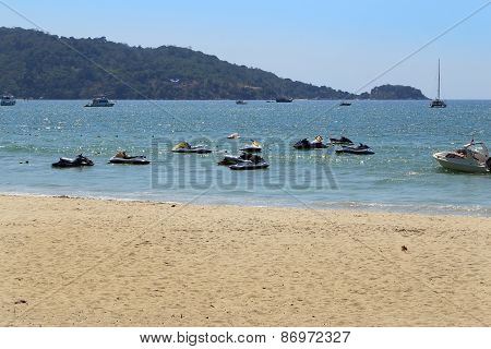 Jet Ski Moored In The Sea Of Patong Beach