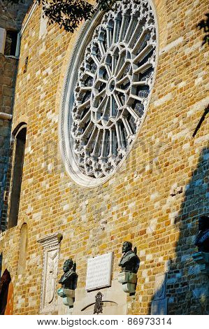 TRIESTE, ITALY - 20 JULY 2013: window detail of St. Giusto basilica, Trieste