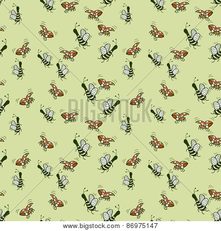 Fun Decorative Background Of Bees And Ladybugs