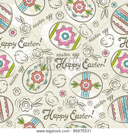 Easter Patterns  With Easter Eggs, Flowers And Chicks
