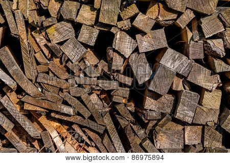 stack of firewood, symbol of fuel, renewable resources, stocks
