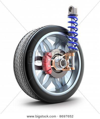 Wheel, shock absorber and brake pads