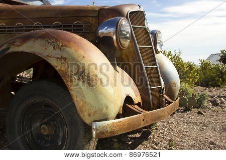 Antique Car In Desert