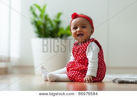 Portrait Of Little African American Little Girl Smiling - Black People