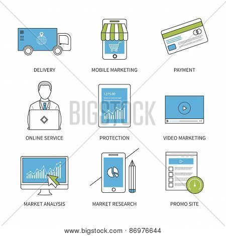Flat design modern vector illustration concept for delivery, mobile marketing, payment, online servi