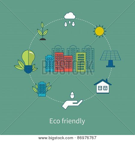 Flat design vector concept illustration with icons of eco friendly energy