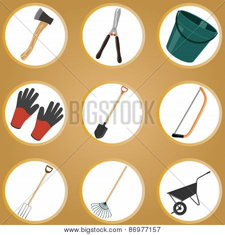 Set of garden tools on white background