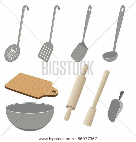Vector set of kitchen utensils on white background