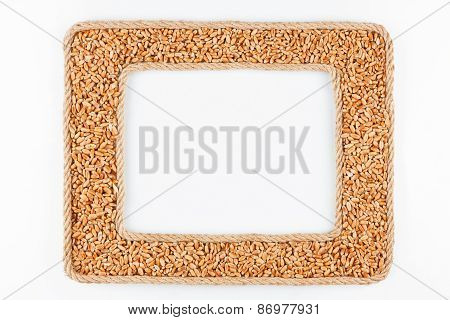 Two Frames Made Of The Rope With Wheat  Grain On A White Background