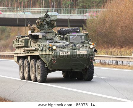 PILSEN CZECH REPUBLIC - APRIL 1, 2015: The M1126 Stryker ICV one part of Dragoon Ride convoy from Operation Atlantic Resolve. Longest march US Army in Europe after second world war.