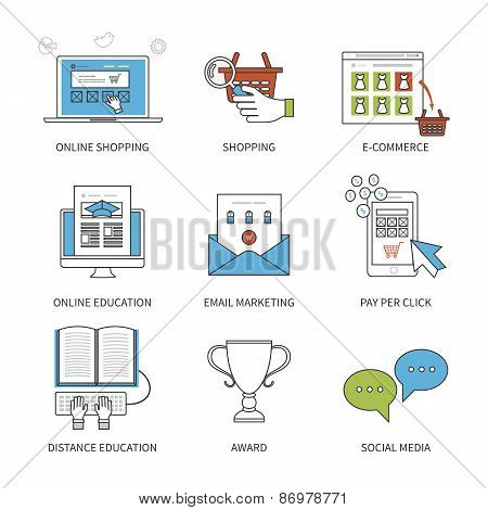 Flat design modern vector illustration concept for online shopping, mobile marketing, e-commerce, so