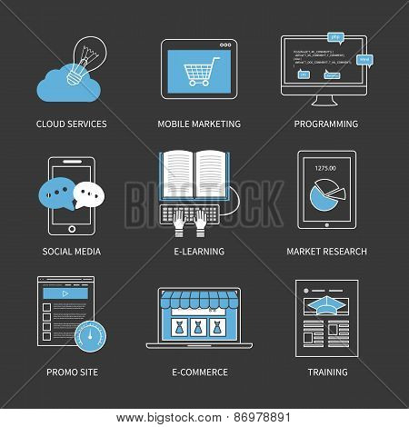 Flat design modern vector illustration concept for cloud services, mobile marketing, programming, so
