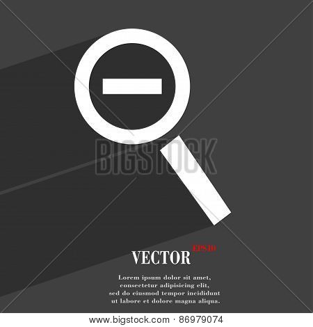 Magnifier Glass, Zoom Tool Icon Symbol Flat Modern Web Design With Long Shadow And Space For Your Te