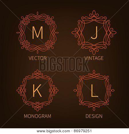 Set outline monograms frame.