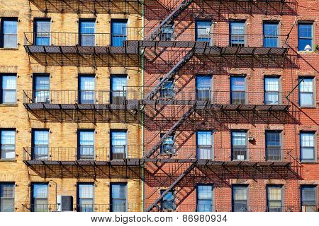 Boston traditional brick wall building facades in Cross St Massachusetts USA