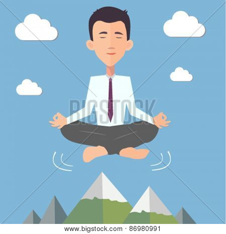 businessman doing yoga in the air - flat design vector