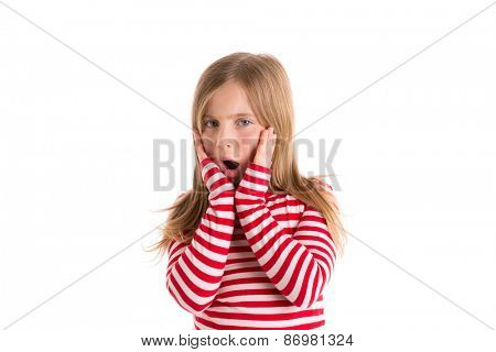 Blond kid girl sad surprised gesture expression gesture hands in face on white