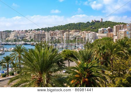 Palma de Majorca skyline with Bellver castle in Mallorca