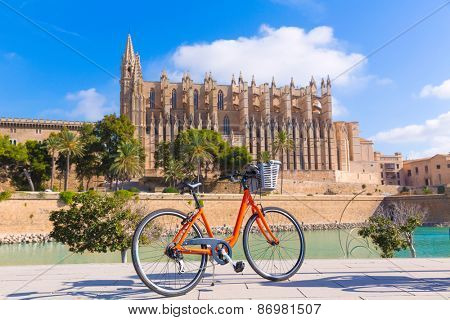Majorca Palma Cathedral Seu and bicycle of Mallorca at Balearic Islands Spain