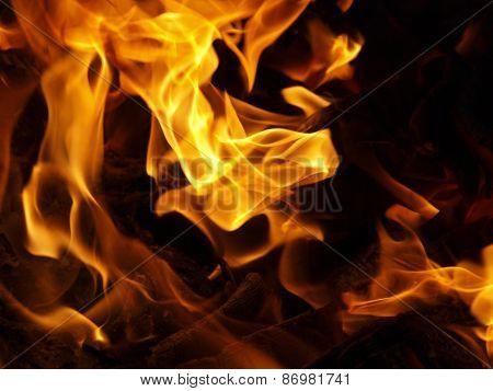 Hot Coals In An Outdoor Fireplace