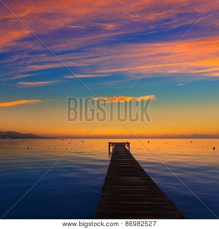 Majorca Muro beach sunrise in Alcudia Bay Mallorca at Balearic Islands of Spain