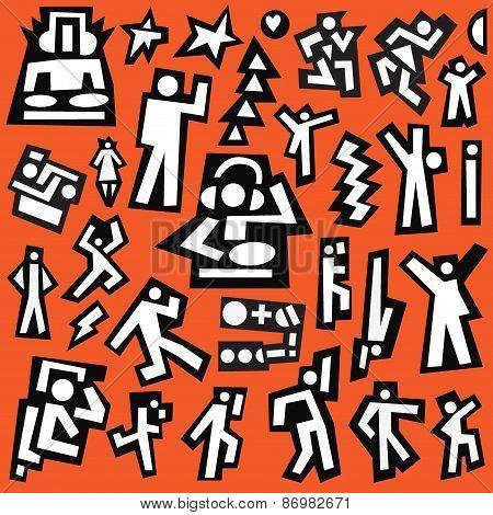 dancing people - doodles set