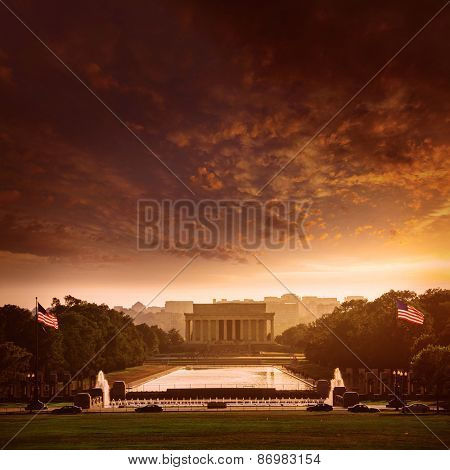 Abraham Lincoln Memorial building sunset Washington DC US USA