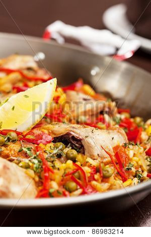 paella with rabbit in a pan