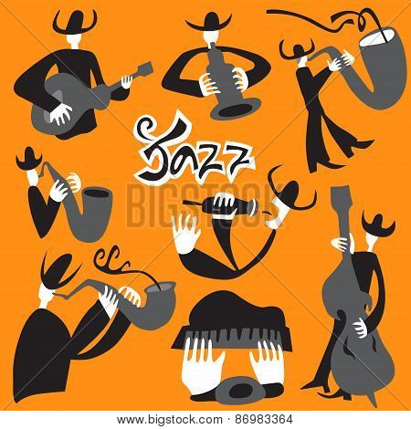 jazz musicians - vector illustrations