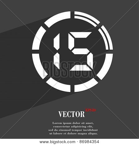 15 Second Stopwatch Icon Symbol Flat Modern Web Design With Long Shadow And Space For Your Text. Vec