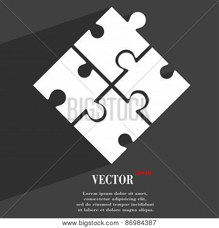 Puzzle Piece Icon Symbol Flat Modern Web Design With Long Shadow And Space For Your Text. Vector