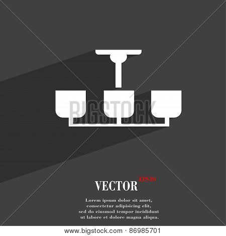 Chandelier Light Lamp Icon Symbol Flat Modern Web Design With Long Shadow And Space For Your Text. V