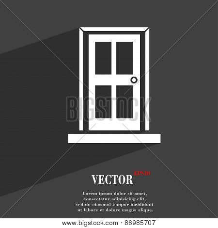 Door Icon Symbol Flat Modern Web Design With Long Shadow And Space For Your Text. Vector