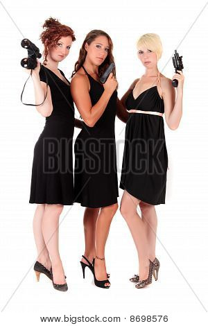 Three Women Black Firearms