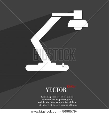 Light, Bulb, Electricity Icon Symbol Flat Modern Web Design With Long Shadow And Space For Your Text