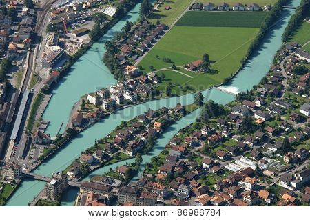 River Aare And Houses In Interlaken