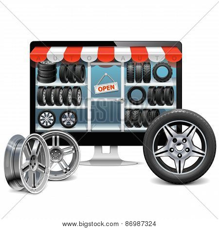 Vector Tire Shop Concept